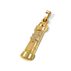 14K Gold Scroll Mezuzah Pendant