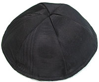 Moire Lined Kippot - Black