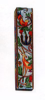 Square Wooden Mezuzah Cover - Oriental Design