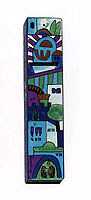 Square Wooden Mezuzah Cover - Jerusalem in Blue