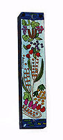 Square Wooden Mezuzah Cover - The 7 Species