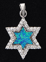 Sterling Silver Star Necklace - Opal