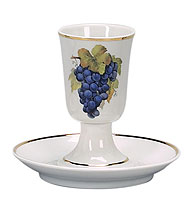 Porcelain Wine Cup and Saucer - Grapes
