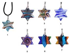 Fused Glass Stars-of-David Necklaces