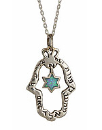 Sterling Silver Hamsa Necklace with Evil Eye Protection
