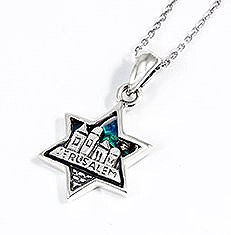 Sterling Silver Star of David Necklace - Jerusalem with Opal