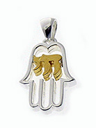 Sterling Hamsa Pendant with Vermeil Chai