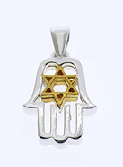Sterling Hamsa Pendant with Vermeil Star