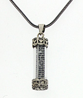 Sterling Silver Mezuzah Pendant with Scroll