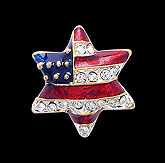 American Flag & Star of David Lapel Pin