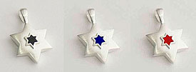 Sterling Silver Star of David Pendant - Enamleled
