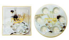Decorated Glass Seder & Matzah Plate
