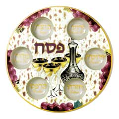 Decorated Glass Seder Plate