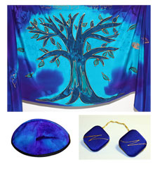 Fine Silk Tree of Life Tallis Set - Blues