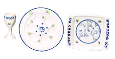 Ceramic Seder Set - Grapes in Pastels