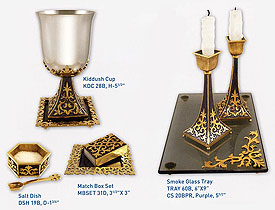 Byzantine Collection Shabbat Table Set - Purple/Gold