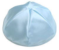 Satin Kippot with Optional Personalization - Light Blue