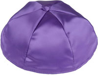 Satin Kippot with Optional Personalization - Medium Purple