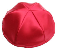 Satin Kippot with Optional Personalization - Red