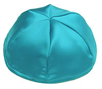 Satin Kippot with Optional Personalization - Turquoise
