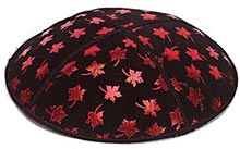 Foil Embossed Suede Kippah - Leaves