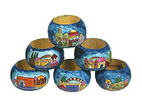 Wooden Painted Napkin Rings - Jerusalem