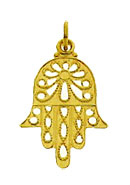 14K Gold Hamsa Pendant - Antique Filigree