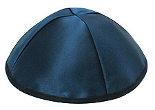 Premuim Personalized Satin Kippot - Navy Blue