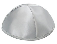 Premuim Personalized Satin Kippot - Silver Grey