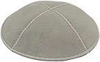 Suede Kippot - Light Grey