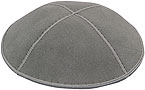 Suede Kippot - Medium Grey