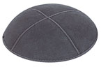 Suede Kippot - Dark Grey