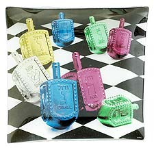 Hanukkah Glass Serving Tray - Dancing Dreydels