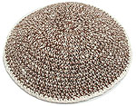 Hand Knitted Kippot - Shredded White & Brown
