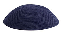 Hand Knitted Kippah - Navy