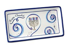 Rectangular Ceramic Serving Platter - Hanukkah Ribbons