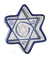 Ceramic Star of David Tray - Ribbons Collection