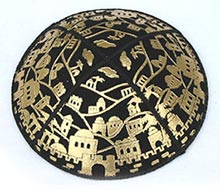Foil Embossed Suede Kippot - Jerusalem Panorama in Gold
