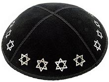 Foil Embossed Suede Kippot - Stars of David