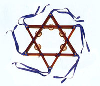 Wooden Star of David Tambourine
