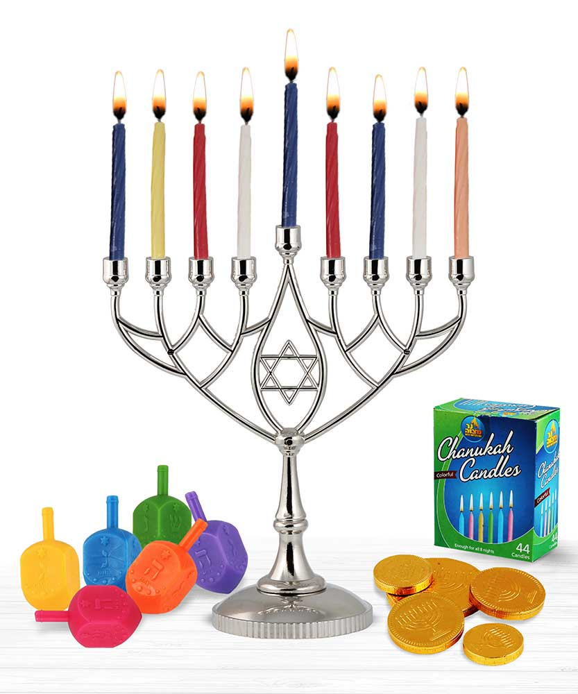 Hanukkah Menorah and Dredeils chocolate Candles Kit