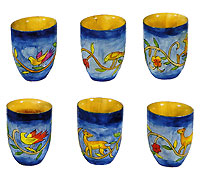Set of 6 Wooden L'chaim Cups - Birds / Animals