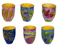Set of 6 Wooden L'chaim Cups - 7 Species