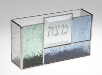 Art Glass & Metal Matzah Plate - Fresh Spring