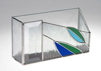 Art Glass & Metal Matzah Plate - Mirrored Leaves