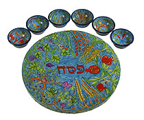 Carved Wood Seder Plate By Emanuel - 7 Species