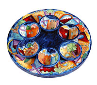 Carved Wood Seder Plate By Emanuel - Jerusalem