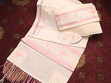 Soft Cotton Luxurious Tallit Set - Pink Pastel Peace
