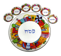 Painted Seder Plate By Emanuel - Jerusalem