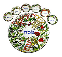 Painted Seder Plate By Emanuel - 7 Species